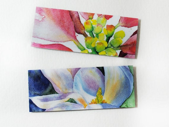 Floral Magnets Set of Two - Magnolia and Poinsettia Watercolor