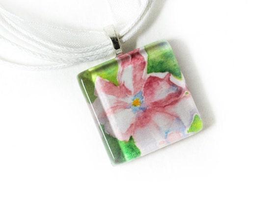 Watercolor Bright Tulip Glass Tile Pendant
