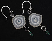 FREE SHIPPING---Solar Quartz Genuine Emerald Dangle Earrings---Sterling Silver---Creations by Sandy