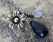 Blue Sapphire Rainbow Moonstone Hill Tribe Flower Necklace---Sterling Silver---Creations by Sandy