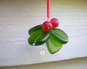 Glass Mistletoe Christmas Ornament