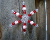 Beaded Baseball Snowflake Ornament