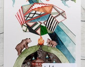 WOLF & CANOE // Art Print // Campfire