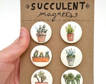 Succulent Magnets--Set of 6