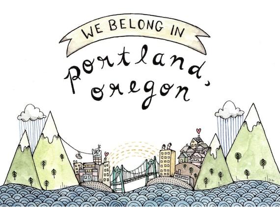 We Belong in Portland Print 5x7