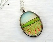 Hand Painted Necklace, Original Wearable Art Pendant, Strawberry Fields Forever