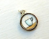 Cup of Coffee, Hand Painted Charm, Original Watercolor Painting