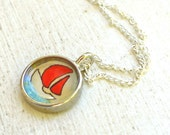 Hand Painted Necklace, Original Art Pendant, Boat with Red Sails