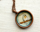 Young Robin, Hand Painted Necklace, Original Watercolor Pendant