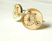 Penny Farthing Bicycle --Hand Painted Cuff Links, Original Miniature Paintings, 17mm
