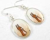 Hand Painted Earrings, Wearable Art-- Velveteen Rabbit