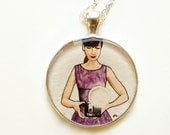Hand Painted Necklace-- The Photographer --Original Miniature Watercolor Painting, Art Pendant, Woman Figure