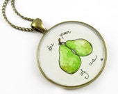 Original Brass Necklace, Hand Painted Wearable Art Pendant-- The Pear of Us --Valentines Day, Miniature Watercolor Painting