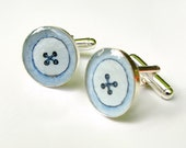 Blue Buttons --Something Blue,  Hand Painted Cuff links, Original Watercolor Paintings, 17mm
