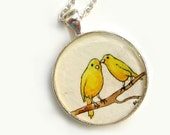 Christmas In July -- The Gossips --Contemporary Wearable Art Pendant, Yellow Canaries
