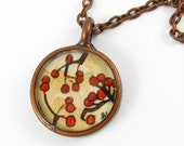 Hand Painted Necklace Charm-- Red Berries --Art Copper Pendant, Miniature Painting