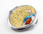 Art Pocket Mirror-- Persuasion's Love Letter --Book Lover, Jane Austen, Original Watercolor Painting, Hand Painted Compact Mirror
