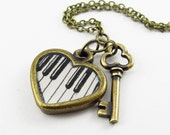 The Keys to My Heart --Hand Painted Heart Necklace, Piano Keys, Music Lover Jewelry