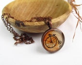 Penny Farthing Bicycle -- Minimalist Contempory Art Jewelry