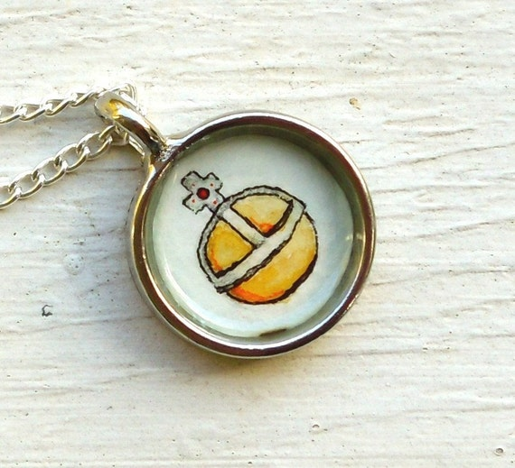 Hand Painted Necklace, Original Wearable Art Pendant-- Holy Hand Grenade