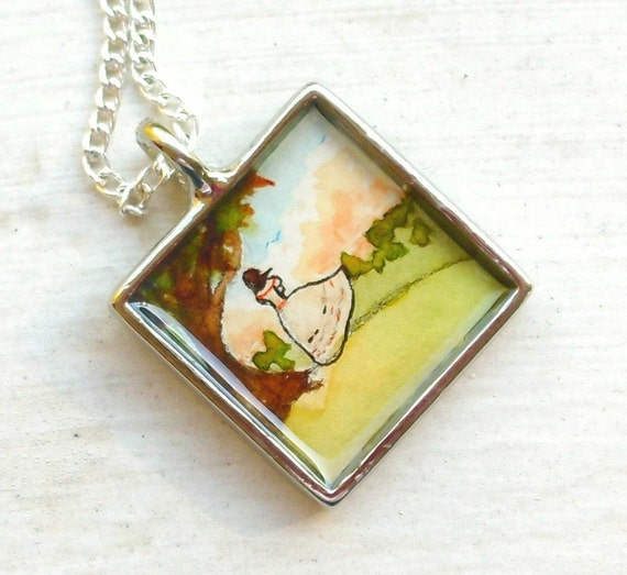 Hand Painted Necklace, Original Wearable Art Pendant, Gone with the Wind