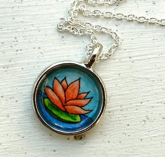 Hand Painted Necklace, Original Wearable Art Pendant, Lotus Blossom