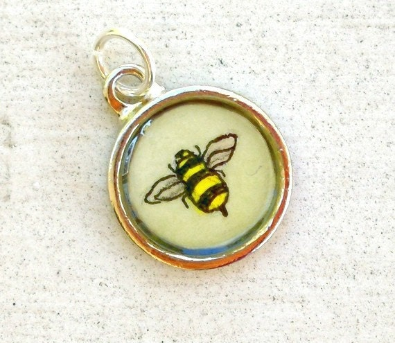 Bumble Bee --Hand Painted Charm, Original Miniature Watercolor Painting