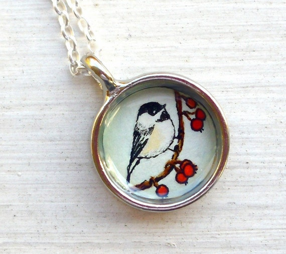 RESERVED -- hand painted chickadee pendant necklace
