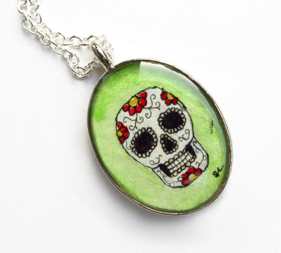 Sugar Skull - Día De Los Muertos necklace pendant, decorated skull, Mexico, colorful, day of the dead jewelry, art print LIMITED EDITION