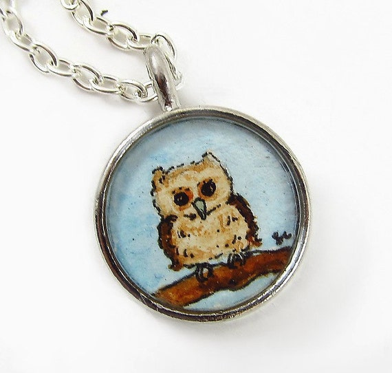RESERVED-- Little Owl, Hand Painted Necklace Charm, Original Wearable Art Pendant --FREE SHIPPING --Retiring Design January 8th
