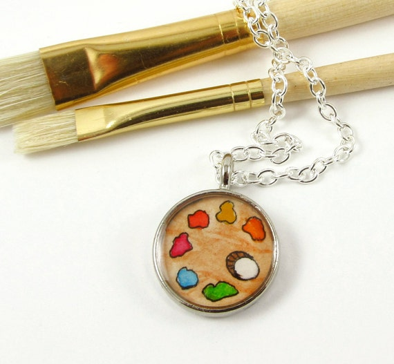Christmas In July-- Artist's Palette --Wearable Art Necklace