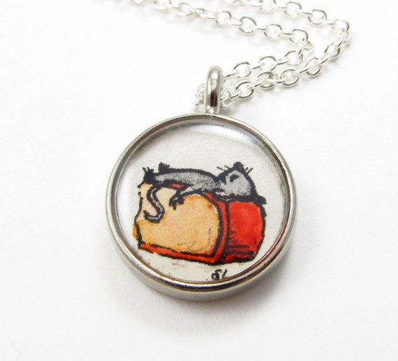 Christmas In July -- Happiness is a Block of Cheese -- Mouse Illustration Pendant