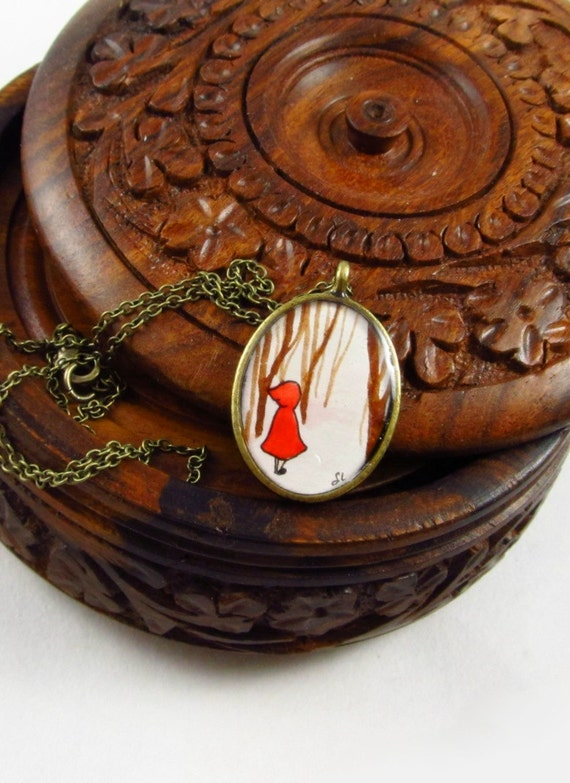 Little Red Riding Hood --Hand Painted Necklace, Contemporary Wearable Art Pendant