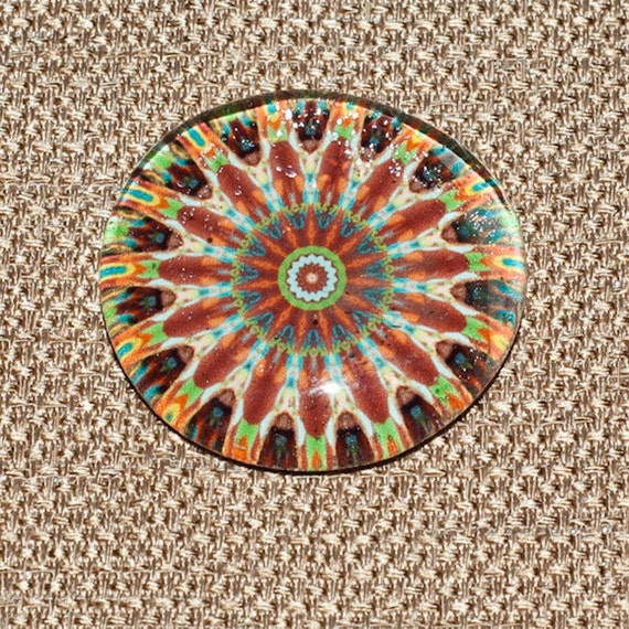 One Super Strong Jumbo Round Glass Mandala Magnet -  Green, Brown, Tan, Earth Tones