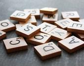 Set of 30 Wooden Scrabble Tiles