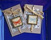Folded Gift Tags (2) with Butterflies and Vintage Sheet Music