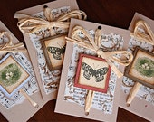 Gift Tags with Bird Nests, Butterflies and Vintage Sheet Music (4, Folded)