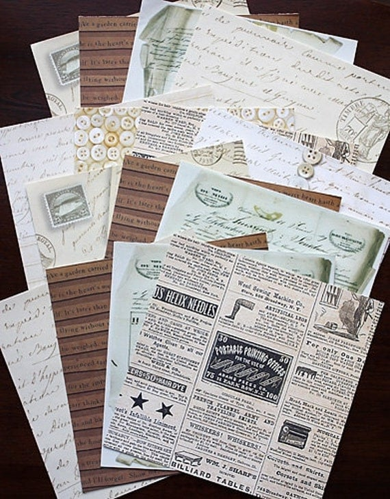 "SALE: 6""x6"" Antique Style Decorative Papers for Scrapbooking, Card Making and Paper Crafts"