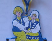 Swedish Norwegian  Dancing Couple, Paper-Mache'  ornament.