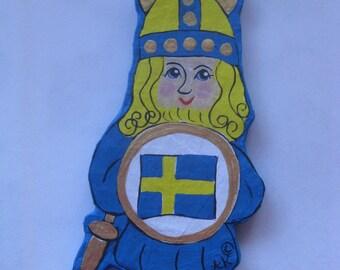 Swedish, Norwegian, Danish Viking Ornament, Paper-Mache'