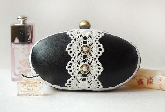 Luxury Victorian Black Leather White Lace Oval Box Clutch Pearl Evening Prom Party Purse Vintage Daily Little Bronze Shoulder Bag Minaudiere