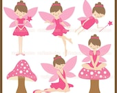 Little Fairy in Pink Clipart