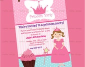 "Little Princess in Pink 1 Personalized Birthday Invitations (5x7"" Digital File)"