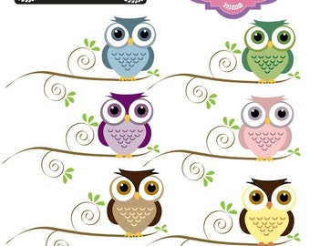 Owl on Branch of Tree Clip art Elements for paper craft, scrap booking, cards, invites