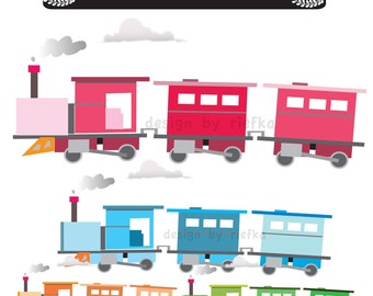 My Cute and Colorful Train Clipart