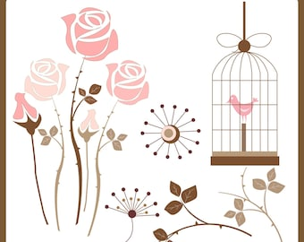 Simply Roses and Birdcage Clip art