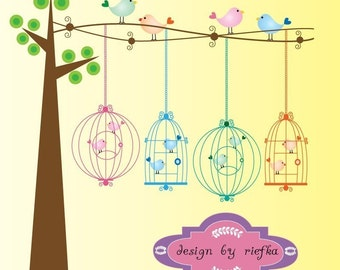 Bird Cages on the tree Clipart