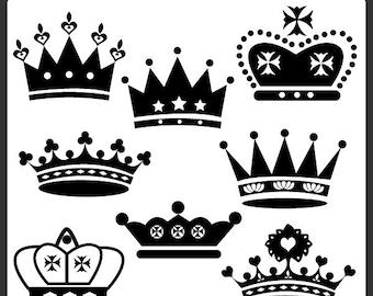 Black Crown Clipart Set