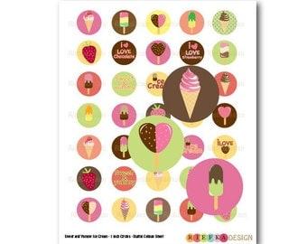 Sweet and Yummy Ice Cream - 1 Inch Circles Digital Collage Sheet (PDF & JPG)