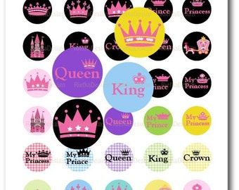 Pink Crown - 1 Inch Circles Digital Collage Sheet (PDF & JPG)